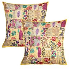 Indian Throw Pillow Covers Yellow 60cm Vintage Patchwork Bohemian Cushion Covers