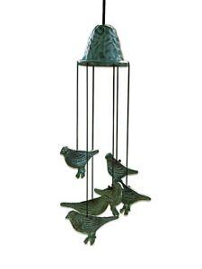 Windspiel Bronze  Gartenfigur Bronzefigur Gartendeko Klangspiel VÖGEL