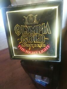 """Cool Vintage Olympia Gold Light Beer Sign ~ 15"""" x 15"""" ~ cool man cave"""
