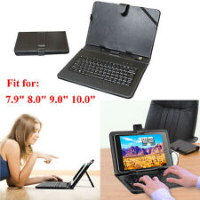 """Universal USB Keyboard Folio Leather Case Stand Cover For 7.9"""" 8"""" 9"""" 10"""" Tablet"""