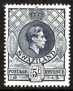 SWAZILAND  1938 KGVI 5/= GREY  P.13.5x13 sg 37 UNMOUNTED- NEVER HINGED