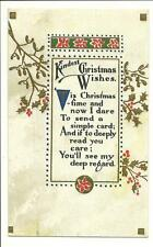 Kindest Christmas Wishes Postcard w/ Poem 1919 Woonsocket SD Series 711