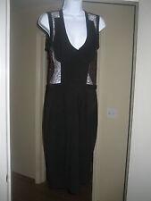 D&G DOLCE & GABBANA Stunning Black and Metallic Lace Dress Sz 44