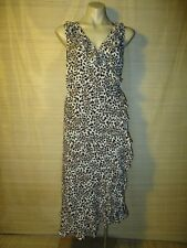 Alannah Hill cream brown Animal leopard Summer wrap frill SILK DRESS Size 10