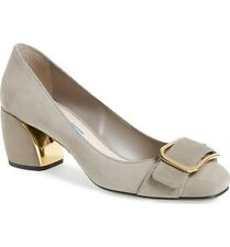 7cac1dd47 New Prada Grey Suede Block Heel Buckle Detail Pump Women 38.5/8.5 $750