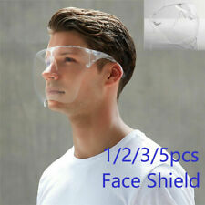 1/3/5PCS Clear Full Cover Face Shield Glasses Safety Protector Reusable Anti-fog