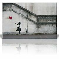 Canvas - There is always hope - Girl and red heart balloon - Street Art -24 x 36