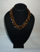 Vintage Multi Strand Faceted Amber Stone Bead Fashion Necklace - FN0148