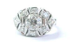 Fine Vintage Old European Cut Diamond Solitaire W Accent Engagement Ring 1.56Ct
