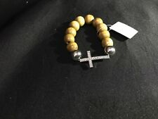 Crystal and wooden cross bracelet