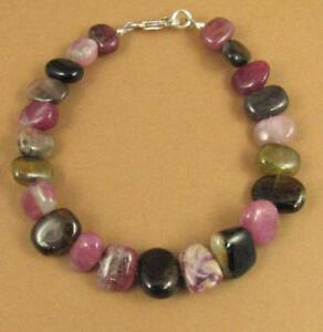 Tourmaline bracelet. Pink, green, black. Sterling silver 925. Handmade.