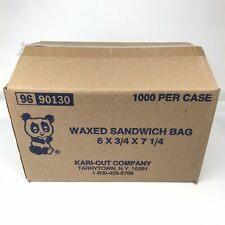 Kari-Out Company Waxed Sandwich Bags 6 x 3/4 x 7 1/4 Case of 1000 - 1000 Ct