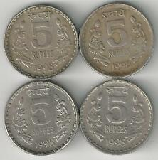4 DIFFERENT 5 RUPEE COINS from INDIA (ALL 1998 with MINT MARKS of B/C/H/N)