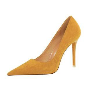 Ladies Pointed Toe Shoes Faux Suede Stiletto High Heels Party Pumps AU Size s014