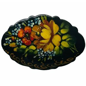Vintage 1990s Russian Hand Painted Floral Multi Flower Gold Edge Lacquer Brooch
