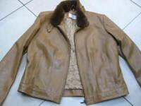 Ladies M&S tan real leather JACKET UK 14 biker bomber zip fur collar aviator