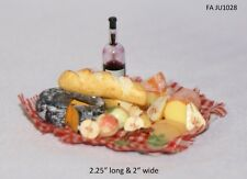 Cheese, Fruit, Wine and Bread Picninc Set 1:12 Scale Dollhouse miniature