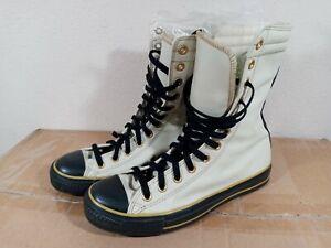 Men's Beige Black Leather Hi-Top Mid Calf Converse Allstar Shoes Size 7.5 - Rare