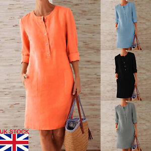 Women Plus Midi Dress Tunic Vintage Dress Pocket Long Sleeve Casual Buttons Tops