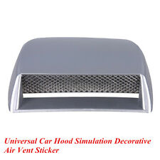 Car Silver Front Hood Simulation Decor 3D Flow Intake Air Vent Cover Universal