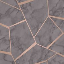 FRACTAL GEOMETRIC MARBLE WALLPAPER CHARCOAL GREY / COPPER - FINE DECOR FD42266