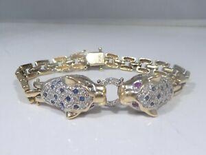 ITALIAN 14K DIAMOND, SAPPHIRE AND RUBY PANTHER BRACELET 14.2 DWT