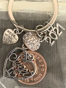 NEW 16th BIRTHDAY GIFT CHARM KEYRING WITH 2005 COIN IN GIFT BAG