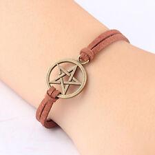 New Bracelet Inspired Retro Bronze Pentagram Pendant Brown Rope Bracelet V#a