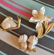 3 Gold & Cream Metal & Resin Ornaments Snail, Flower & 2 Doves