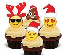Emoji Christmas - Edible Cupcake Toppers, Fairy Cake Decorations Smiley Face Poo