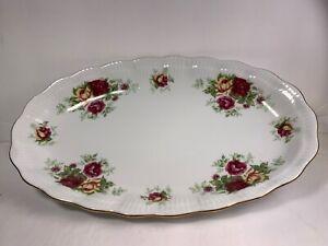 VTG Crystal Clear Fine Porcelain Made Poland Roses Oval Bowl Tray Gold 10 3/4