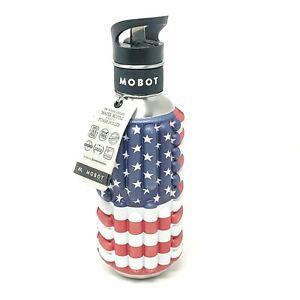 Mobot 18oz USA Flag Stars & Stripes Foam Roller Stainless Steel Water Bottle HTF