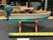 1950's Famus Motor Boat Wood Toy Battery Japan Vintage Unrestored Collectible!