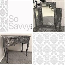 Blackened Silver Metal Embossed Dressing Console Table Desk + Matching Mirror