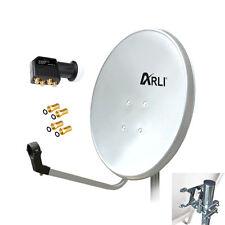 80 cm SAT HD Anlage Digitale Quad LNB 4 Teilnehmer Schüssel Antenne Spiegel 4K W