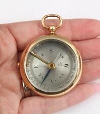 Rare Antique French Pocket Compass & 14kt Yellow Gold Case, No Reserve