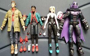 Marvel Legends Spiderverse Miles Gwen Prowler Peter B Parker Stilt Man BAF Lot