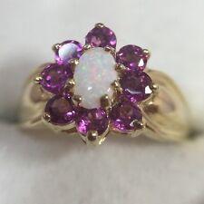 10k Yellow Gold 1+Ct Opal Pink Topaz Sapphire Diamond Halo Wedding Estate Ring 5
