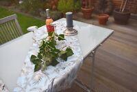 Tischläufer Baumwolle Provence 45x110 cm hellblau grau Farnmotiv aus Frankreich