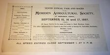 Rare Antique Victorian American Horse Show Entry Document! Bicycle Race CT! 1897