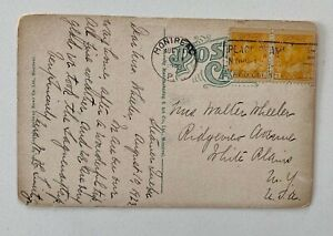 1923 1c Yellow Pair Montreal to White Plains NY Lower St Lawrence River PC