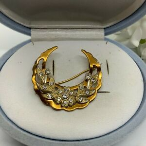 VINTAGE JEWELLERY CLEAR RHINESTONE GOLD & SILVER TONE FLORAL CRESCENT BROOCH PIN