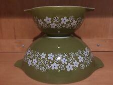 Pyrex Corning Set 2 Nesting Mixing Baking Roasting Bowls Vintage Spring Blossom