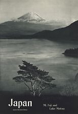 VINTAGE Mt FUJI AND LAKE MOTOSU JAPAN RAILWAY A4 POSTER PRINT
