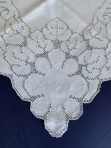 Superb Vintage White Irish Linen Hand Embroidered Eyelet Work Square Tablecloth