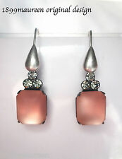 Art Deco Art Nouveau earrings vintage style peach rose frosted glass short drop