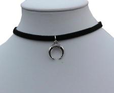 Crescent Moon Black Choker Necklace ~ Double Horn Pendant