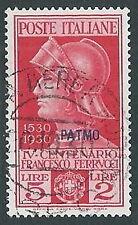 1930 EGEO PATMO USATO FERRUCCI 5 LIRE - U27-4