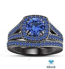 2.00Ct Round Cut Blue Sapphire With Double Prong Setting Bridal Wedding Ring Set