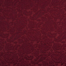 E554 Burgundy, Floral Durable Jacquard Upholstery Grade Fabric By The Yard